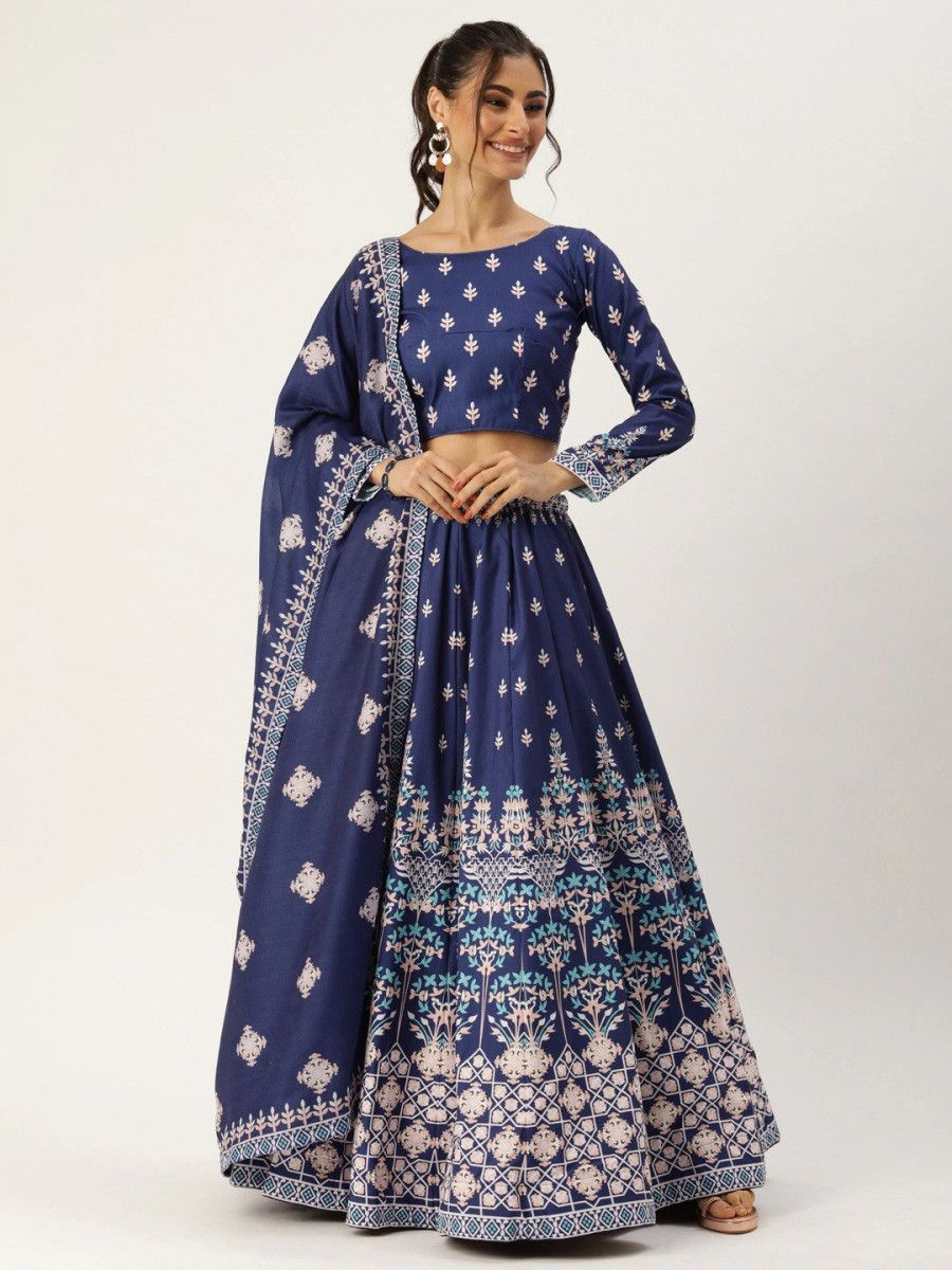 Navy Blue Myntra Lehenga & Choli with Dupatta