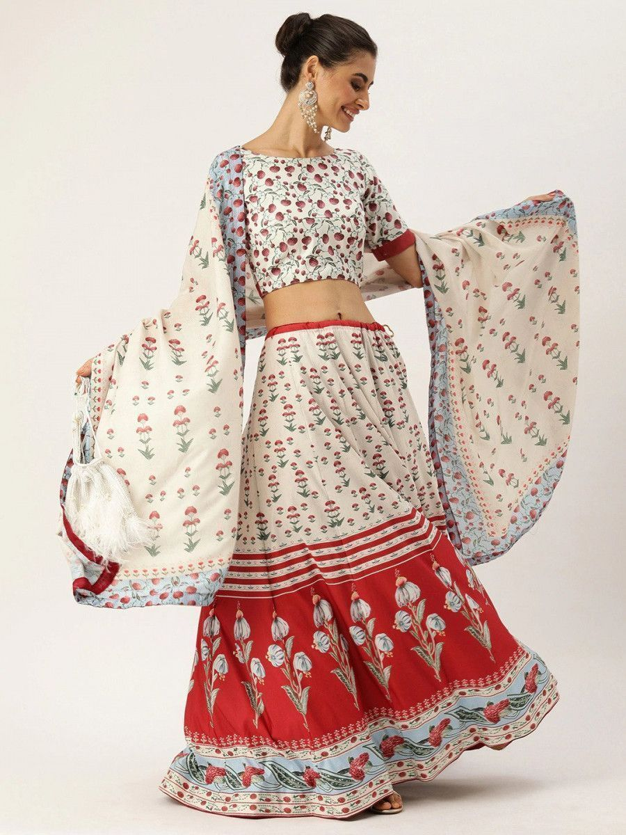 White & Red Printed Myntra Lehenga & Blouse with Dupatta