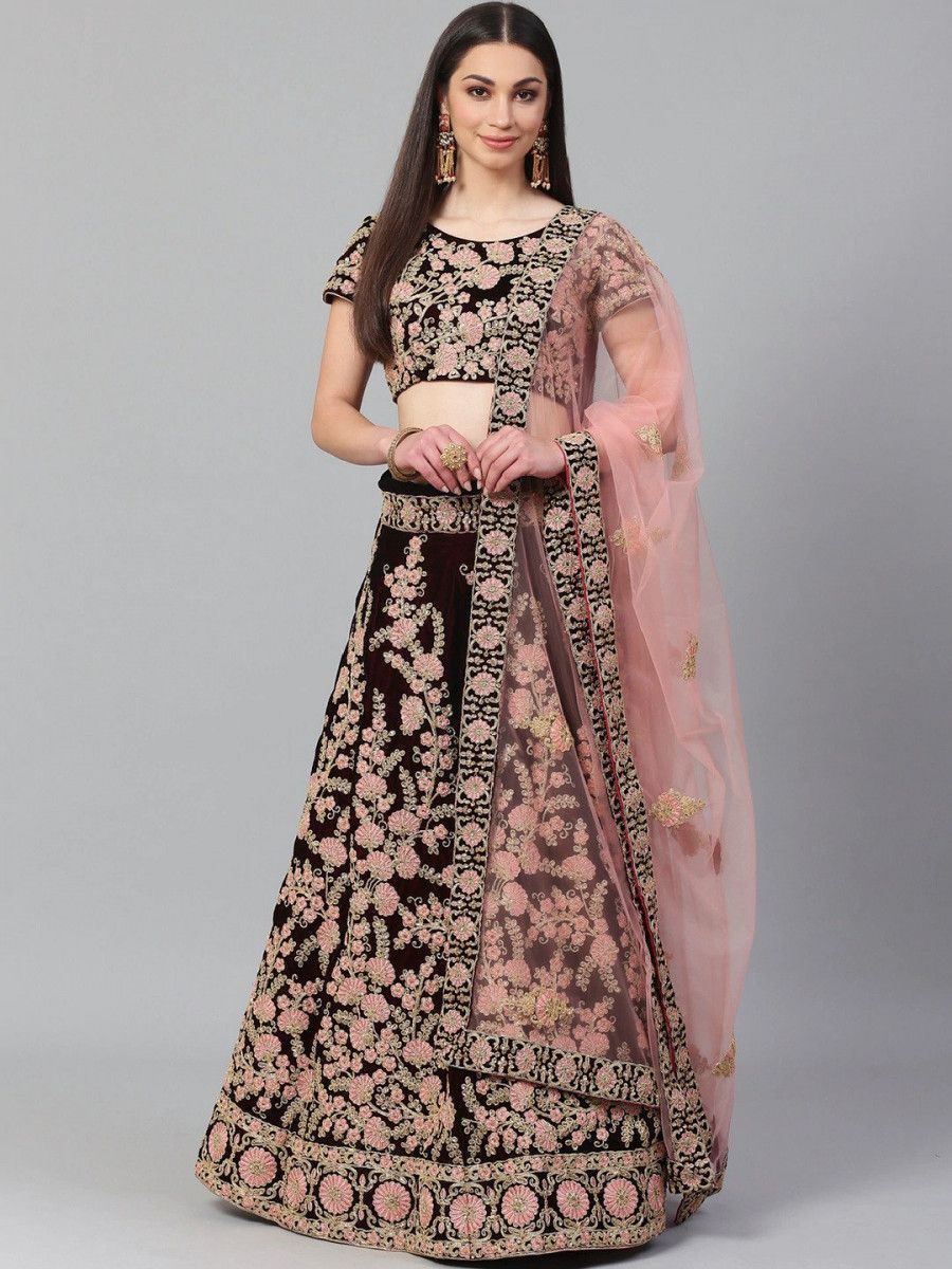 Maroon & Peach-Coloured Embroidered Semi-Stitched Myntra Lehenga & Unstitched Blouse with Dupatta