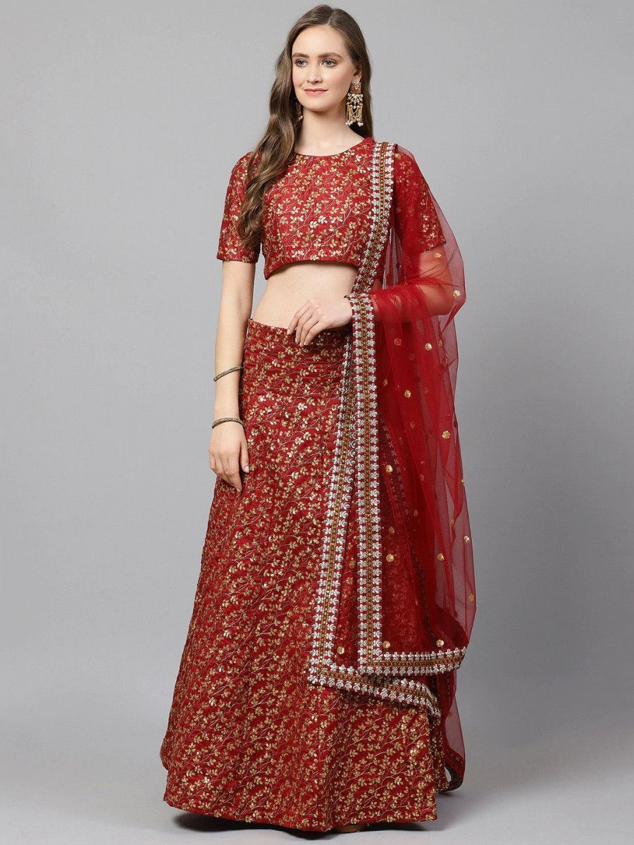 Maroon & Golden Semi-Stitched Myntra Bridal Lehenga & Unstitched Blouse with Dupatta
