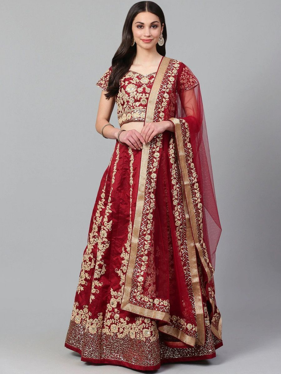 Maroon & Golden Semi-Stitched Myntra Wedding Lehenga & Unstitched Blouse with Dupatta
