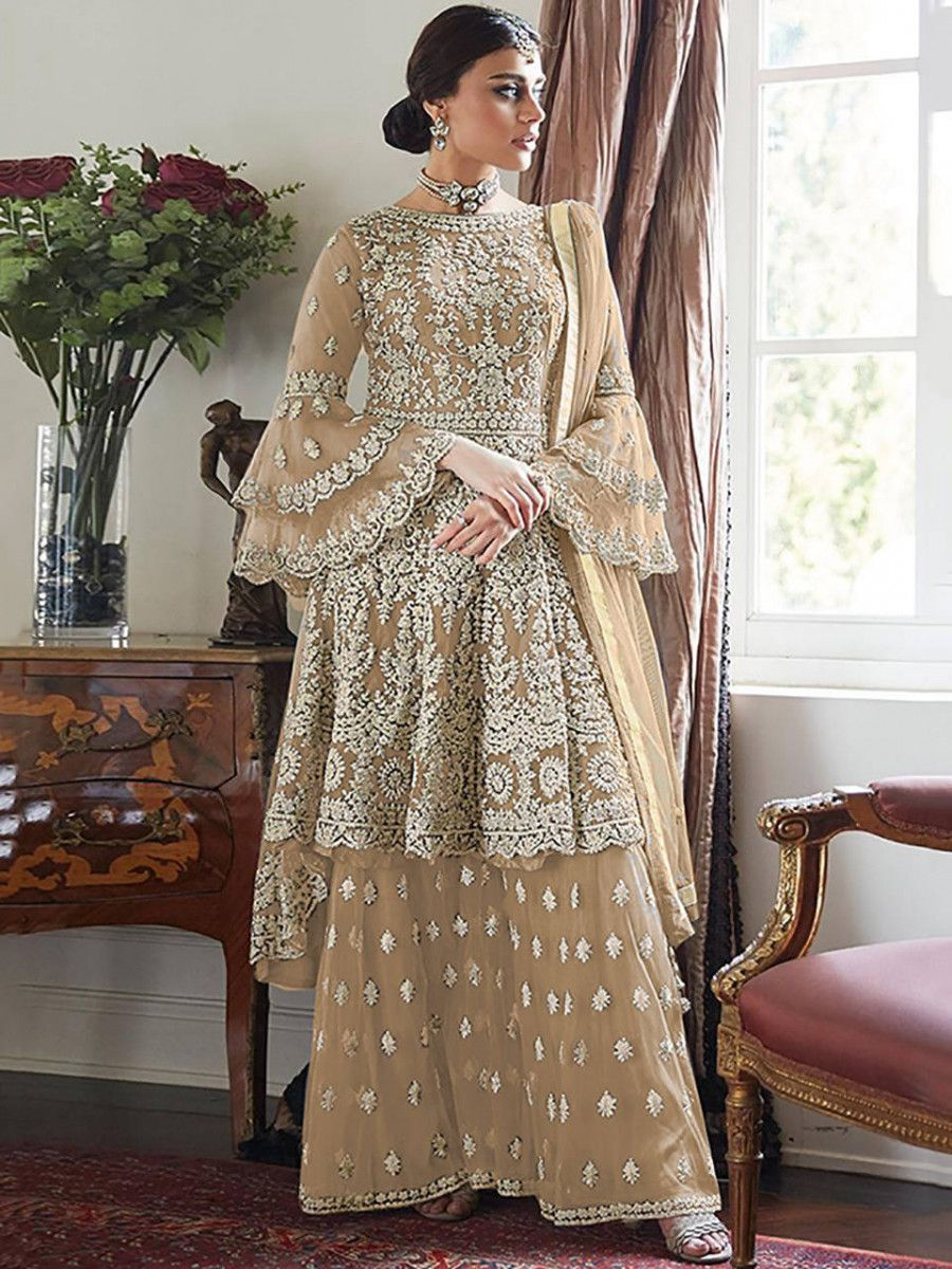 Beige Embroidered Net Festival Wear Pakistani Sharara Suit
