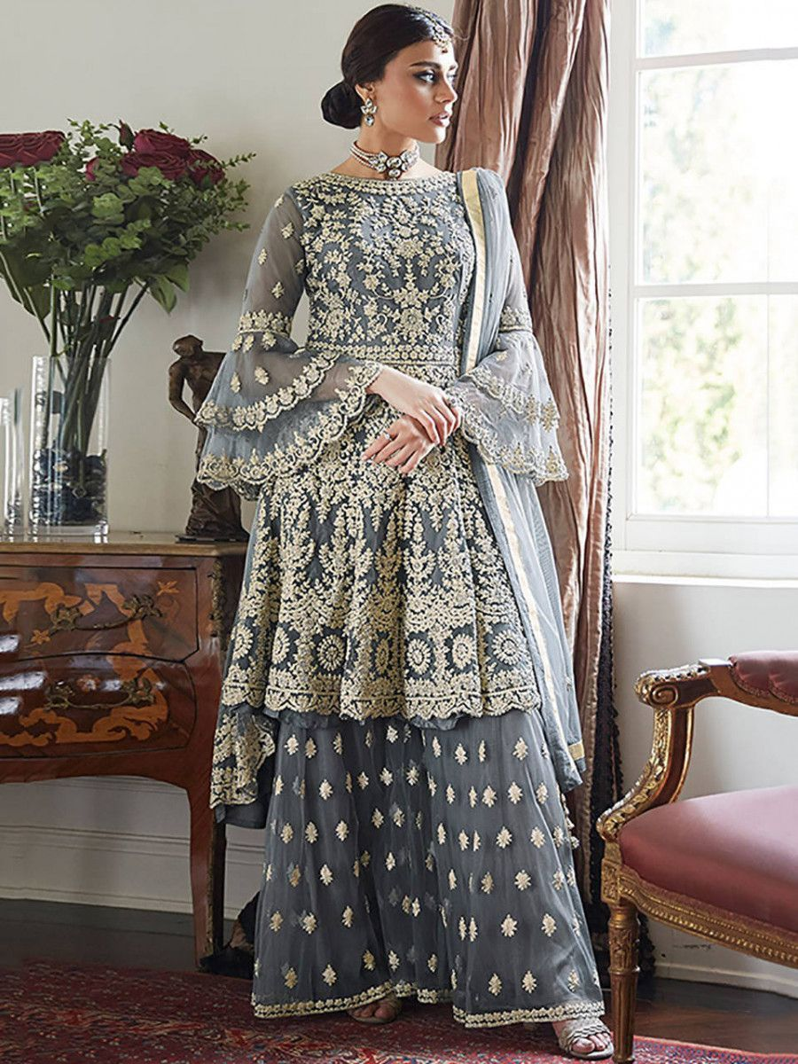Grey Embroidered Net Festival Wear Pakistani Sharara Suit