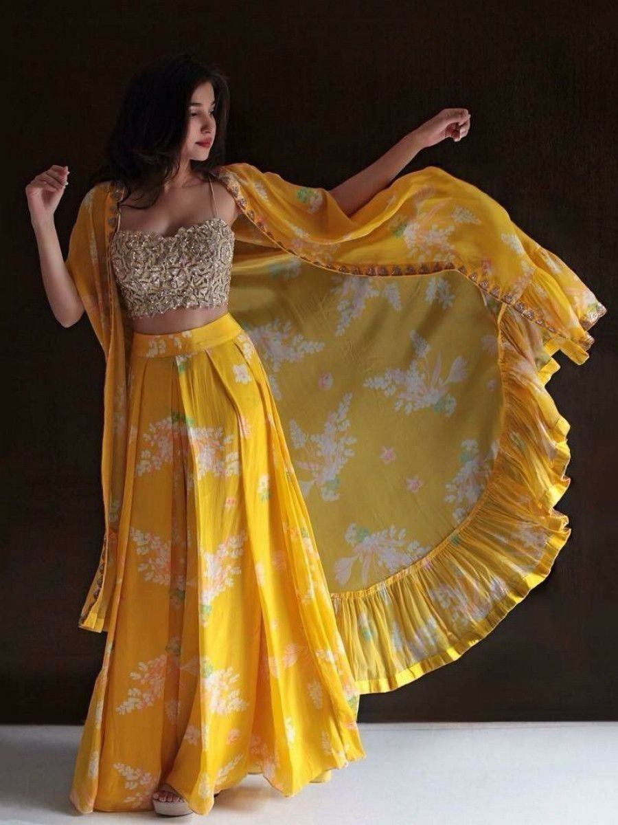 Yellow Digital Printred Chiffon Crop Top Lehenga With Shrug