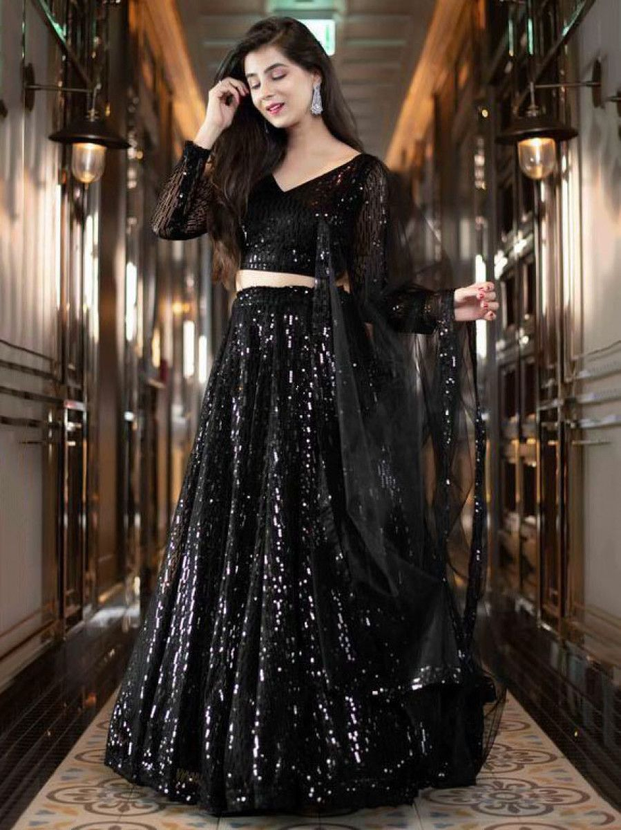 Black Sequins Heavy Georgette Party Wear Lehenga Choli With Dupatta