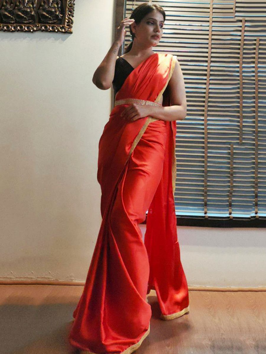 Red Satin Silk Festive Ready To Wear Saree With Belt