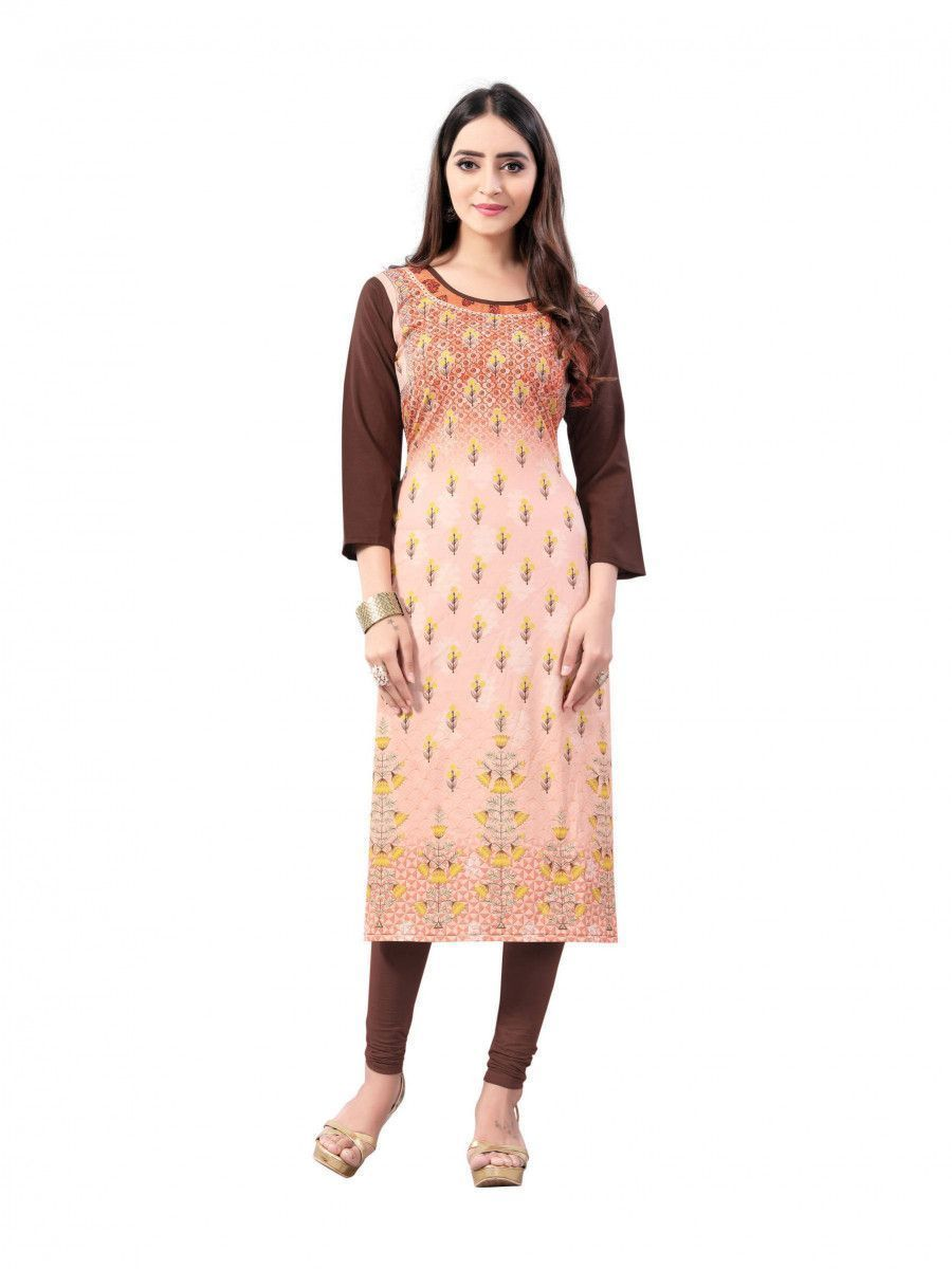 Peach-Brown Digital Floral Printed Crepe Readymade Kurti