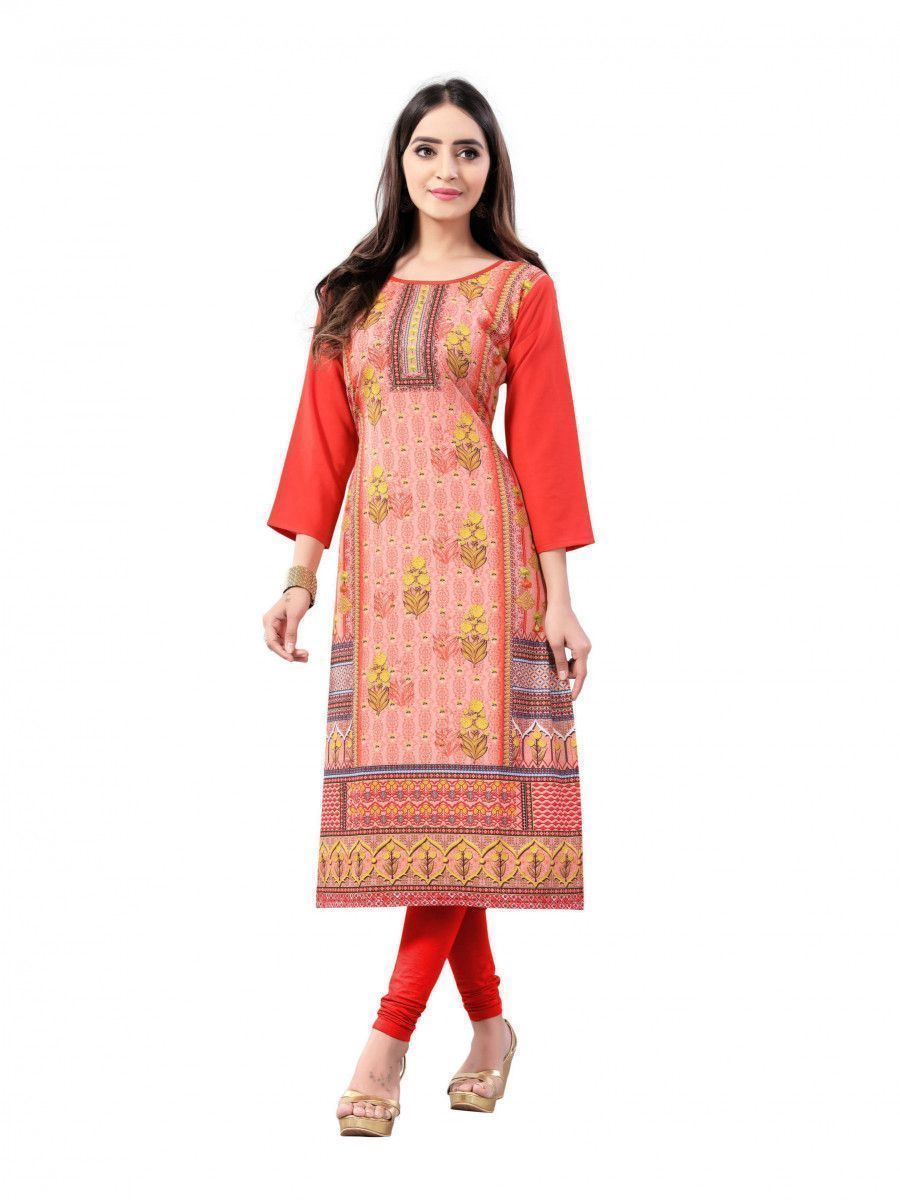 Orange Digital Floral Printed Crepe Readymade Kurti