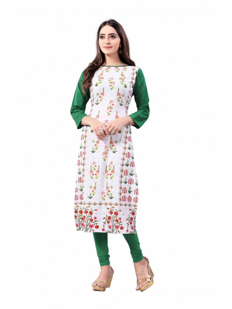 White-Green Digital Floral Printed Crepe Readymade Kurti