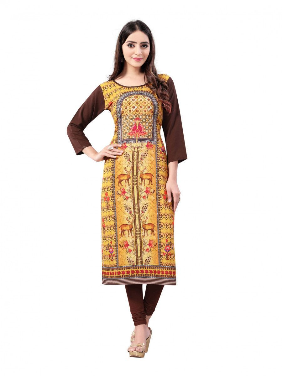 Yellow-Brown Digital Floral Printed Crepe Readymade Kurti