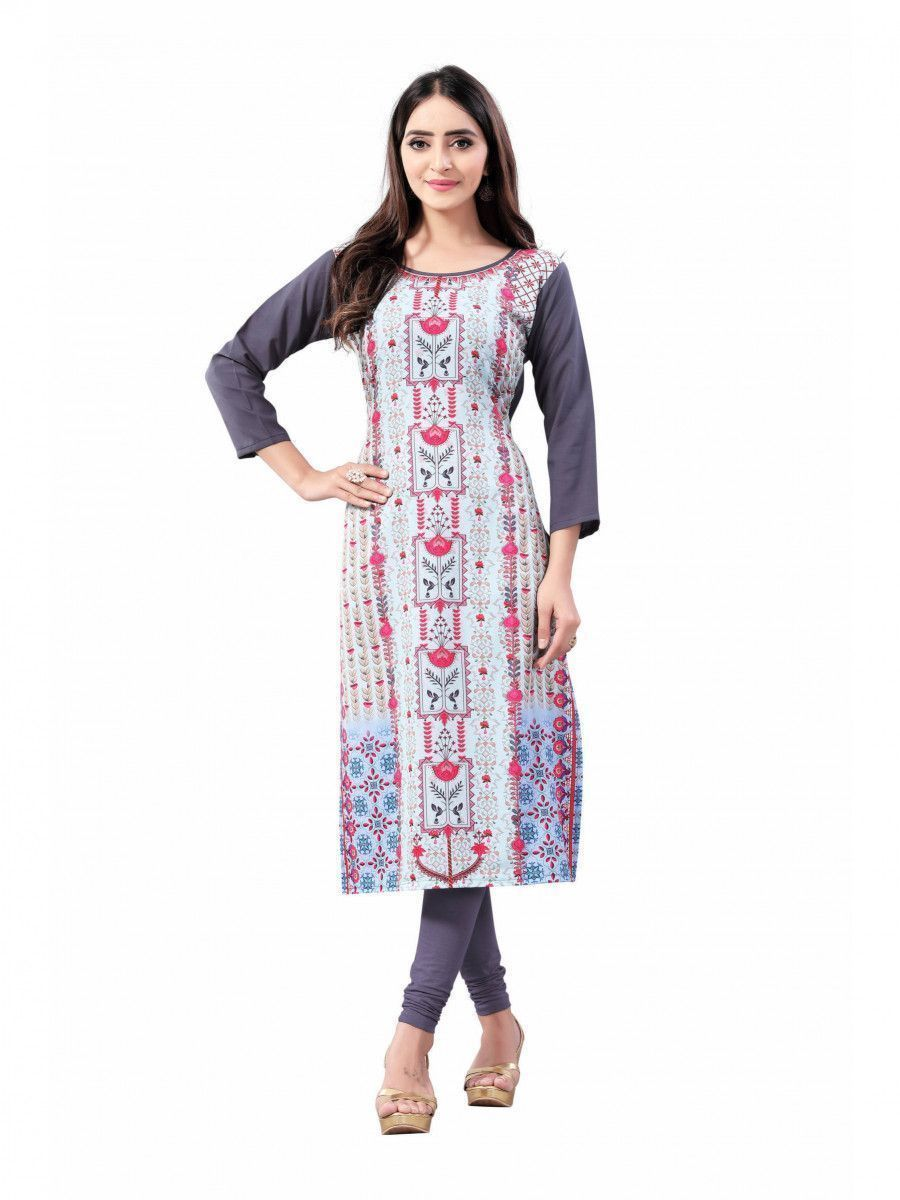 Gray Digital Floral Printed Crepe Readymade Kurti