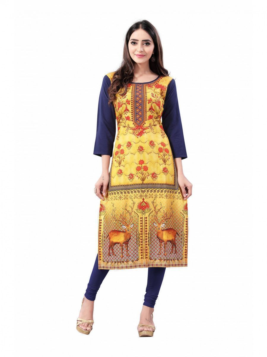Yellow-Navy Blue Digital Floral Printed Crepe Readymade Kurti