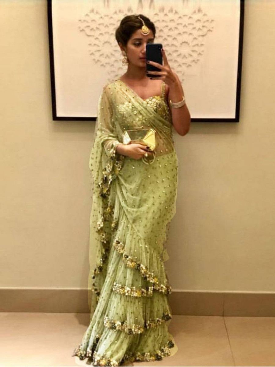 Green Embroidered Net Party Wear Ruffle Saree