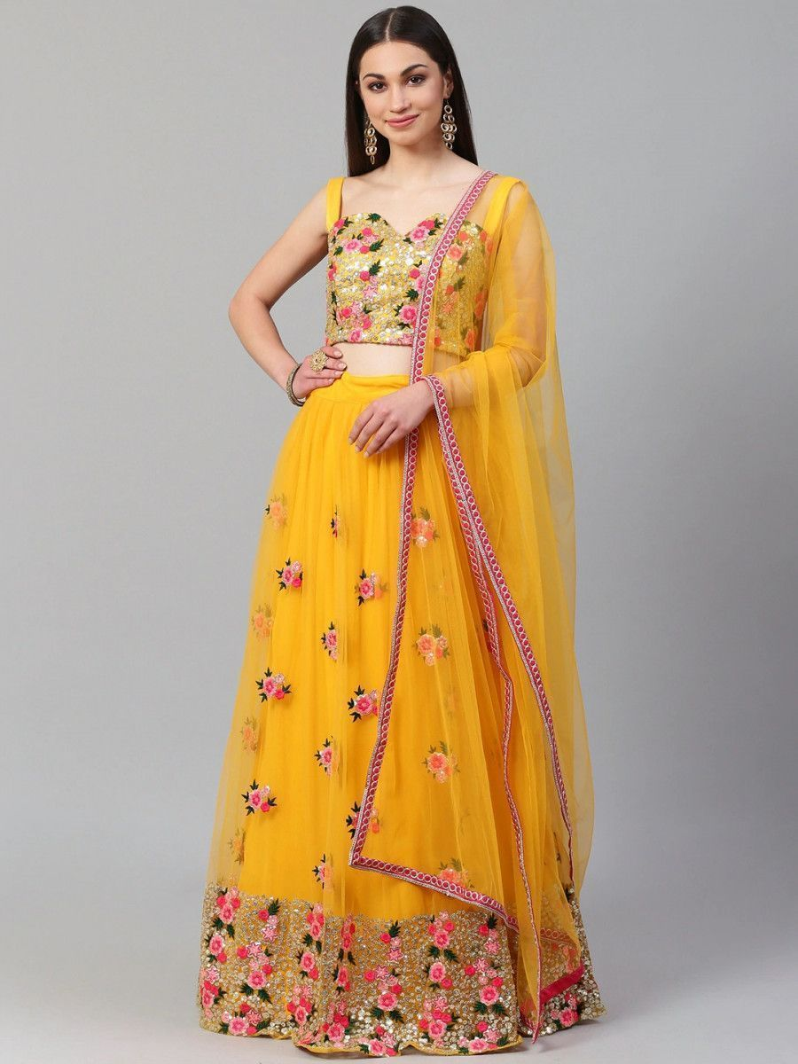 Yellow & Pink Embroidered Semi-Stitched Myntra Lehenga & Unstitched Blouse with Dupatta