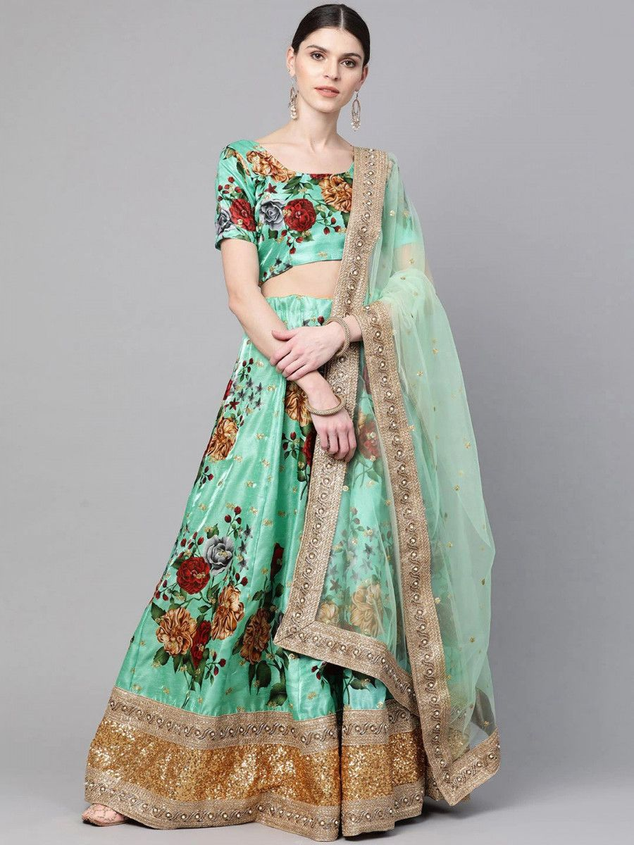 Green Floral Semi-Stitched Myntra Lehenga & Unstitched Blouse with Dupatta