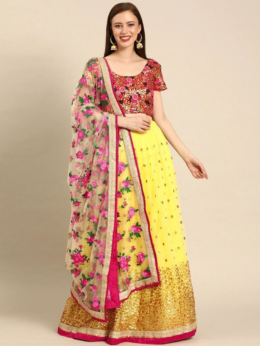 Yellow & Pink Embroidered & Sequined Semi-Stitched Myntra Lehenga & Blouse with Dupatta