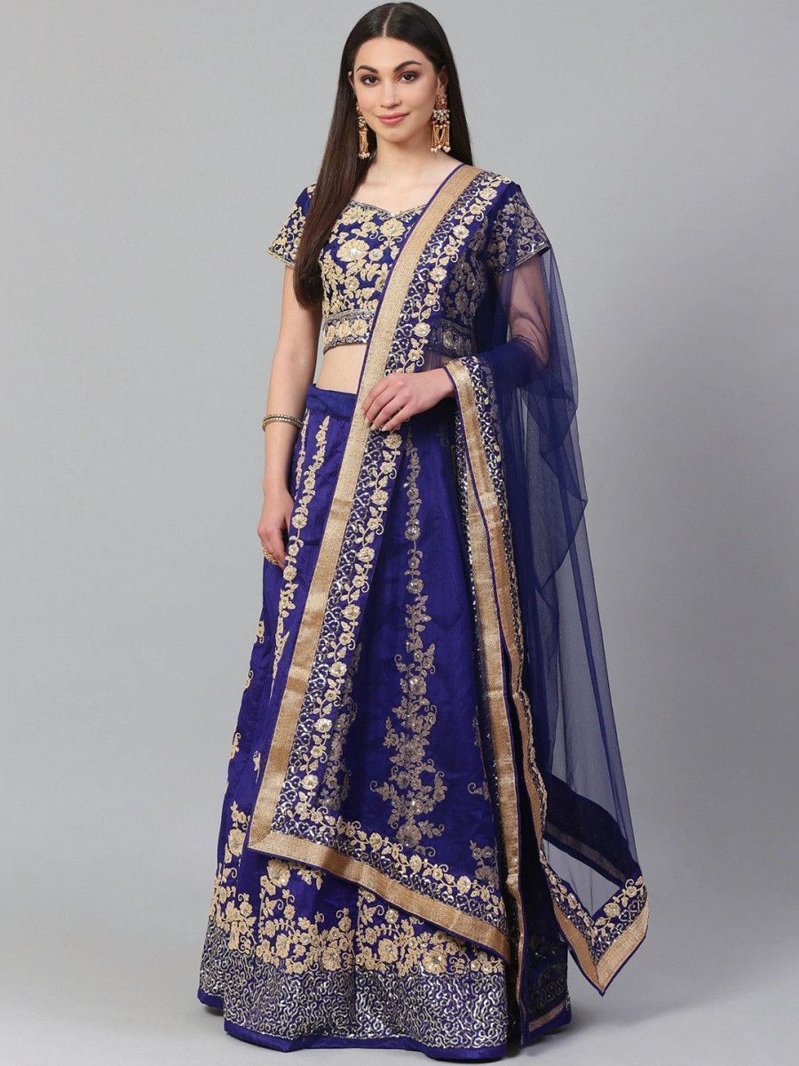 Blue & Gold-Toned Embroidered Semi-Stitched Myntra Lehenga & Unstitched Blouse with Dupatta