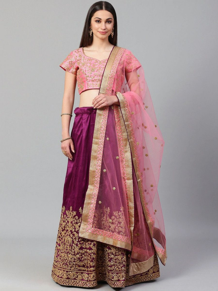 Purple & Pink Semi-Stitched Myntra Lehenga & Unstitched Blouse with Dupatta