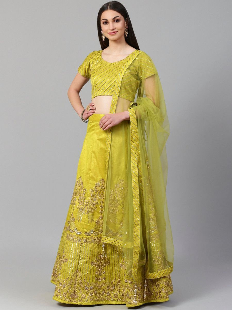 Lime Green & Gold-Toned Embroidered Semi-Stitched Myntra Lehenga & Unstitched Blouse with Dupatta