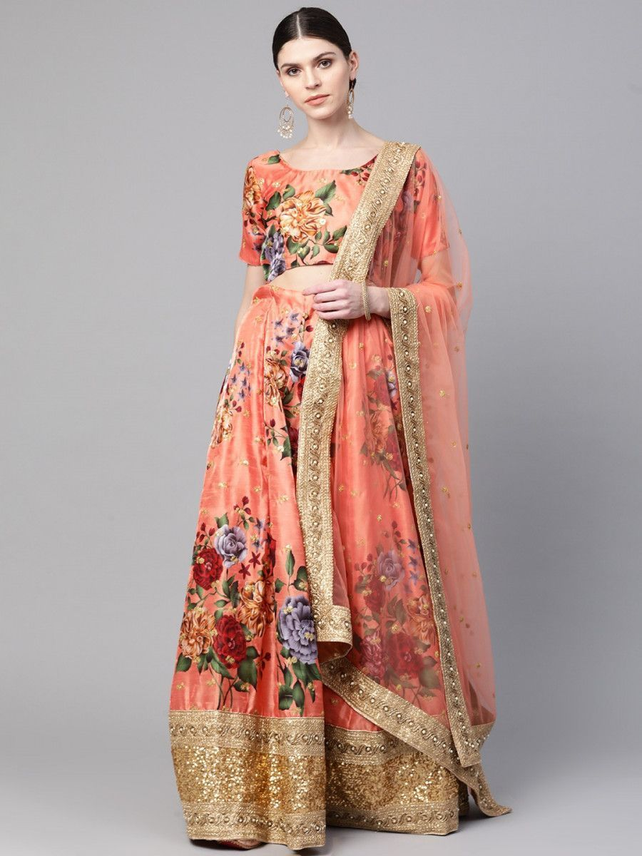 Peach-Coloured & Pink Printed Semi-Stitched Myntra Lehenga & Unstitched Blouse with Dupatta