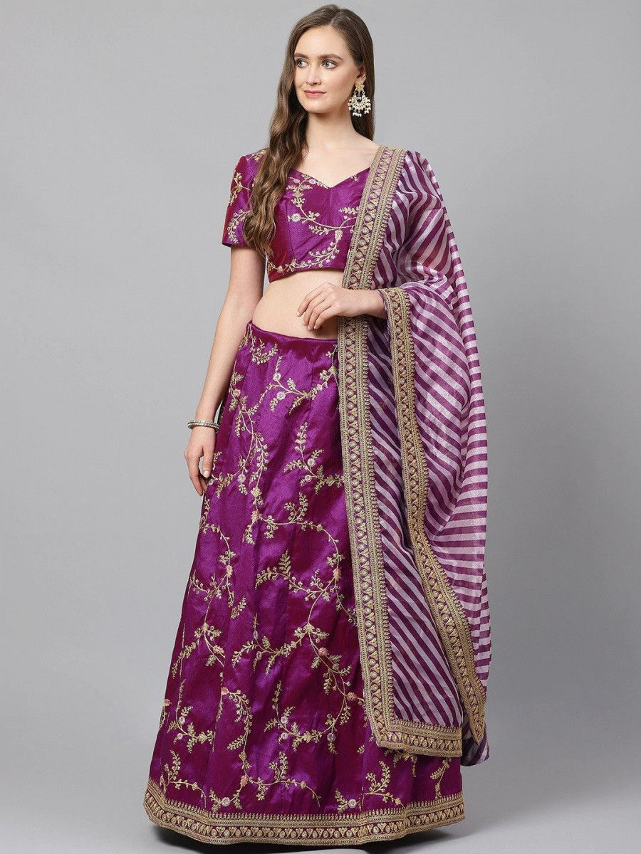 Purple & Golden Semi-Stitched Myntra Lehenga & Unstitched Blouse with Dupatta