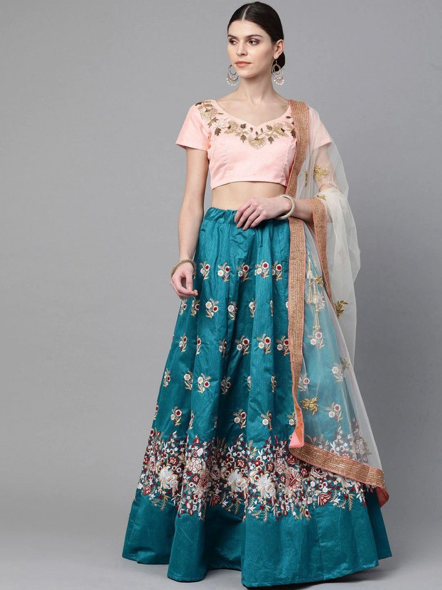Turquoise Blue & Peach-Coloured Embroidered Semi-Stitched Myntra Lehenga & Unstitched Blouse with Dupatta