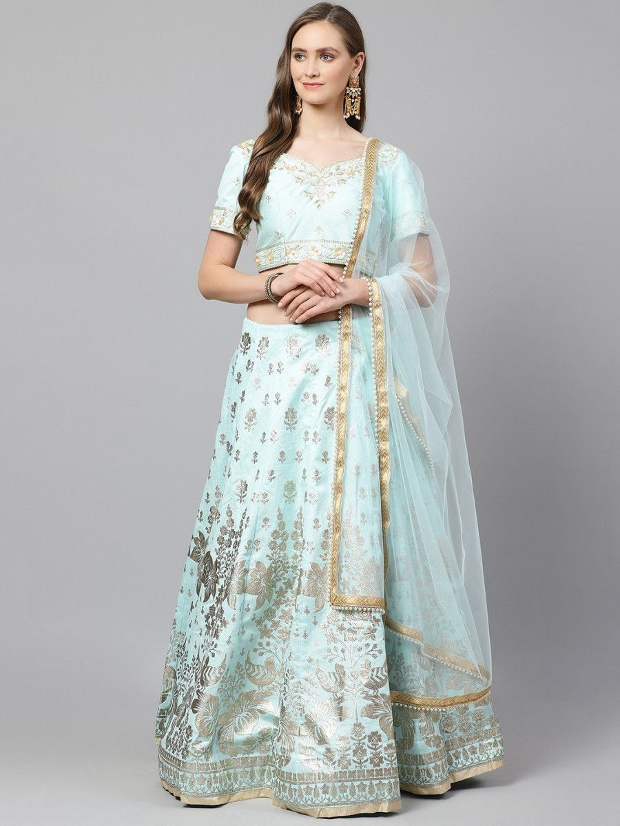 Blue & Gold-Toned Printed Semi-Stitched Myntra Lehenga & Unstitched Blouse with Dupatta