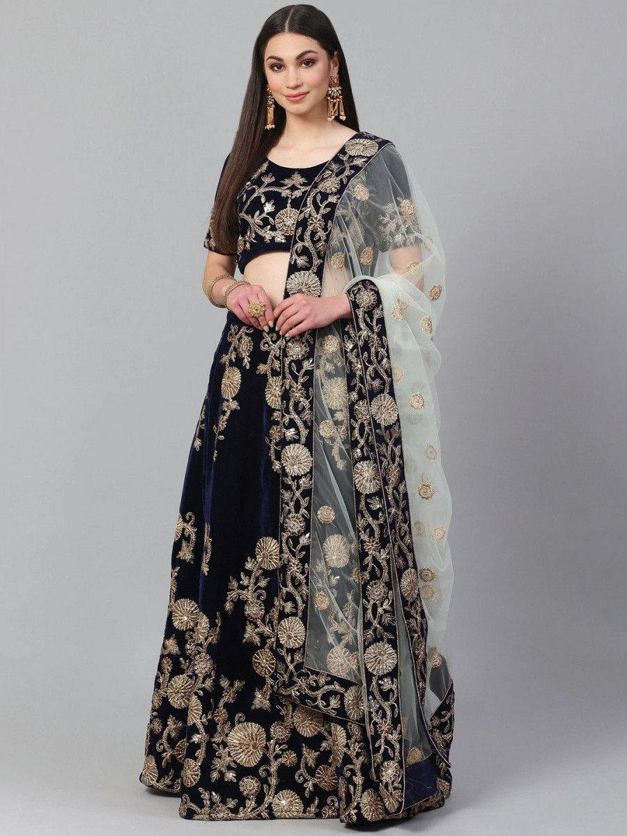 Navy Blue & Golden Semi-Stitched Myntra Lehenga with Unstitched Choli
