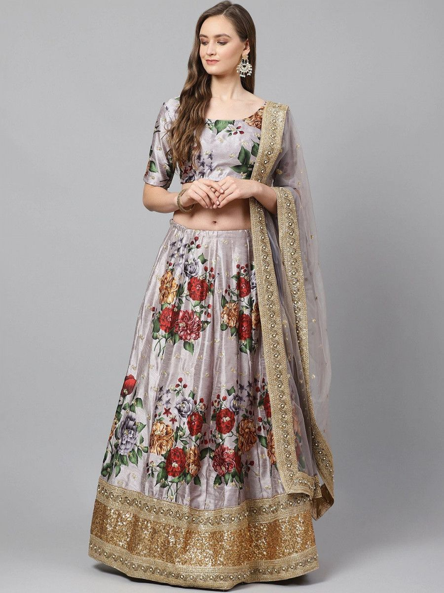Grey & Red Printed Semi-Stitched Myntra Lehenga & Unstitched Blouse with Dupatta