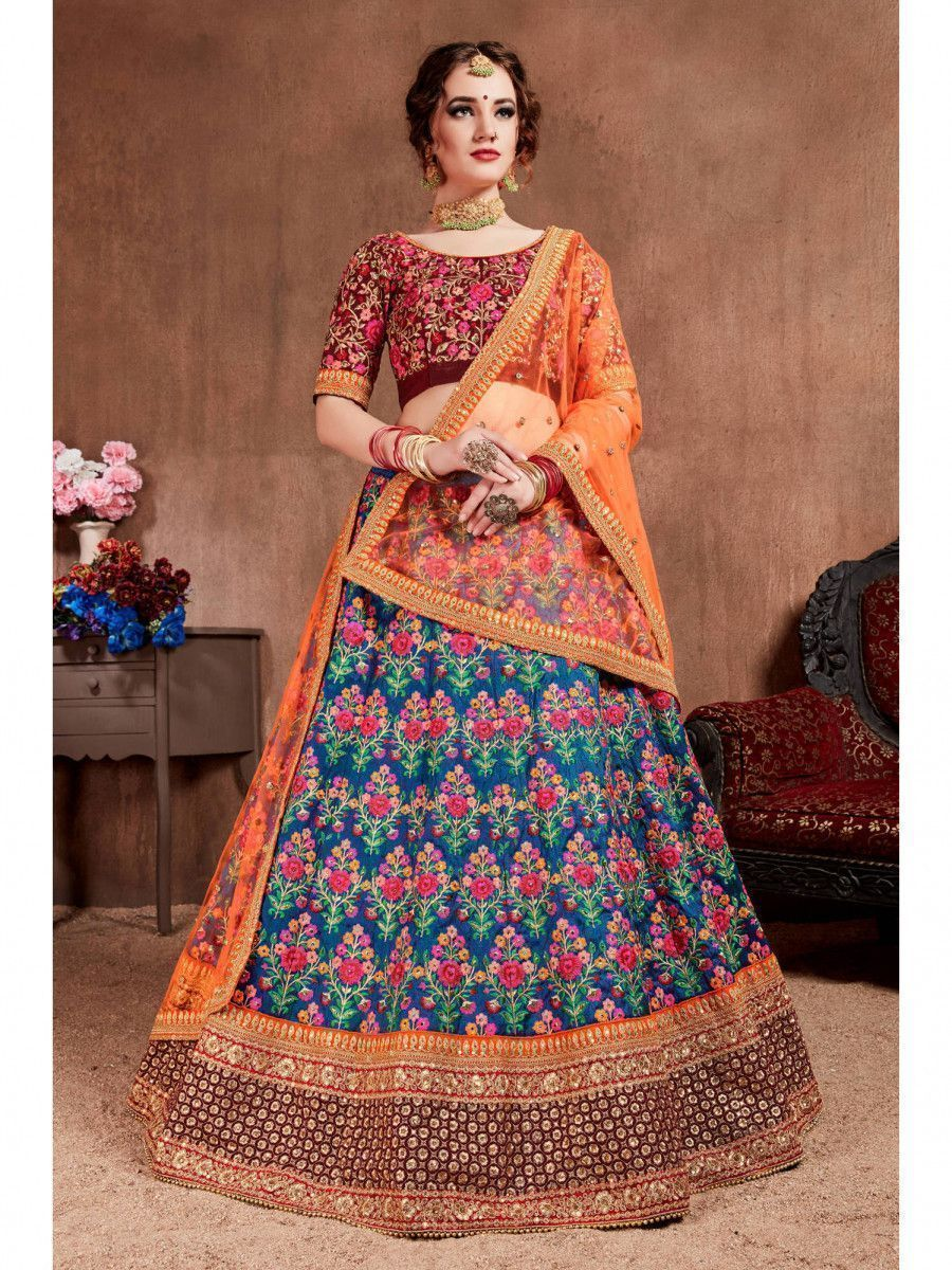 Navy Blue Embroidered Mulberry Silk Bridal Lehenga Choli With Dupatta