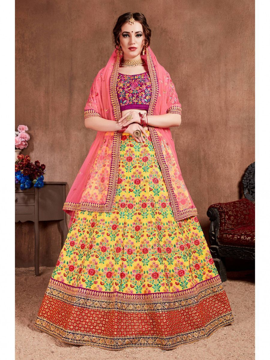 Yellow Embroidered Silk Bridal Lehenga Choli With Dupatta