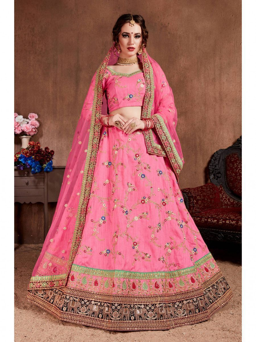 Pink Embellished Silk Bridal Wear Lehenga Choli