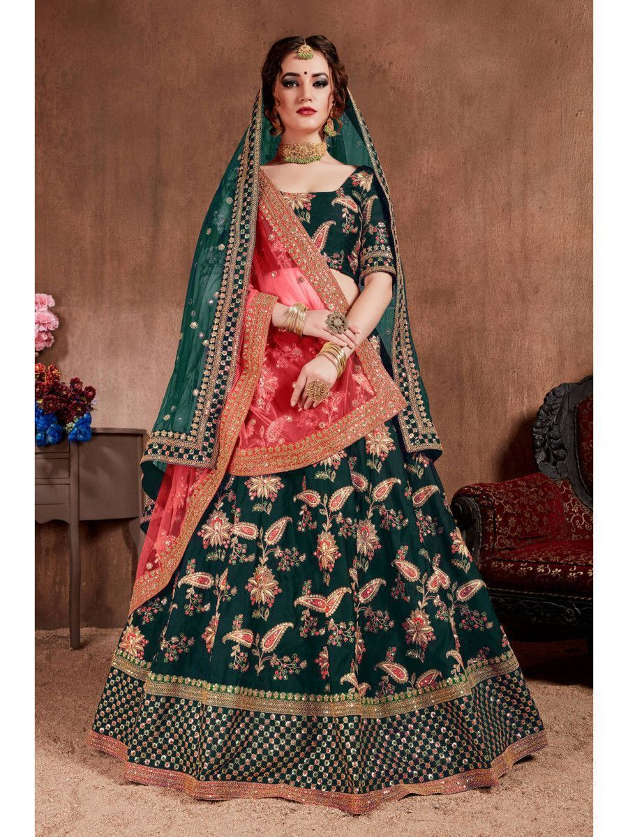 Bottle Green Embroidered Taffeta Silk Bridal Wear Lehenga Choli