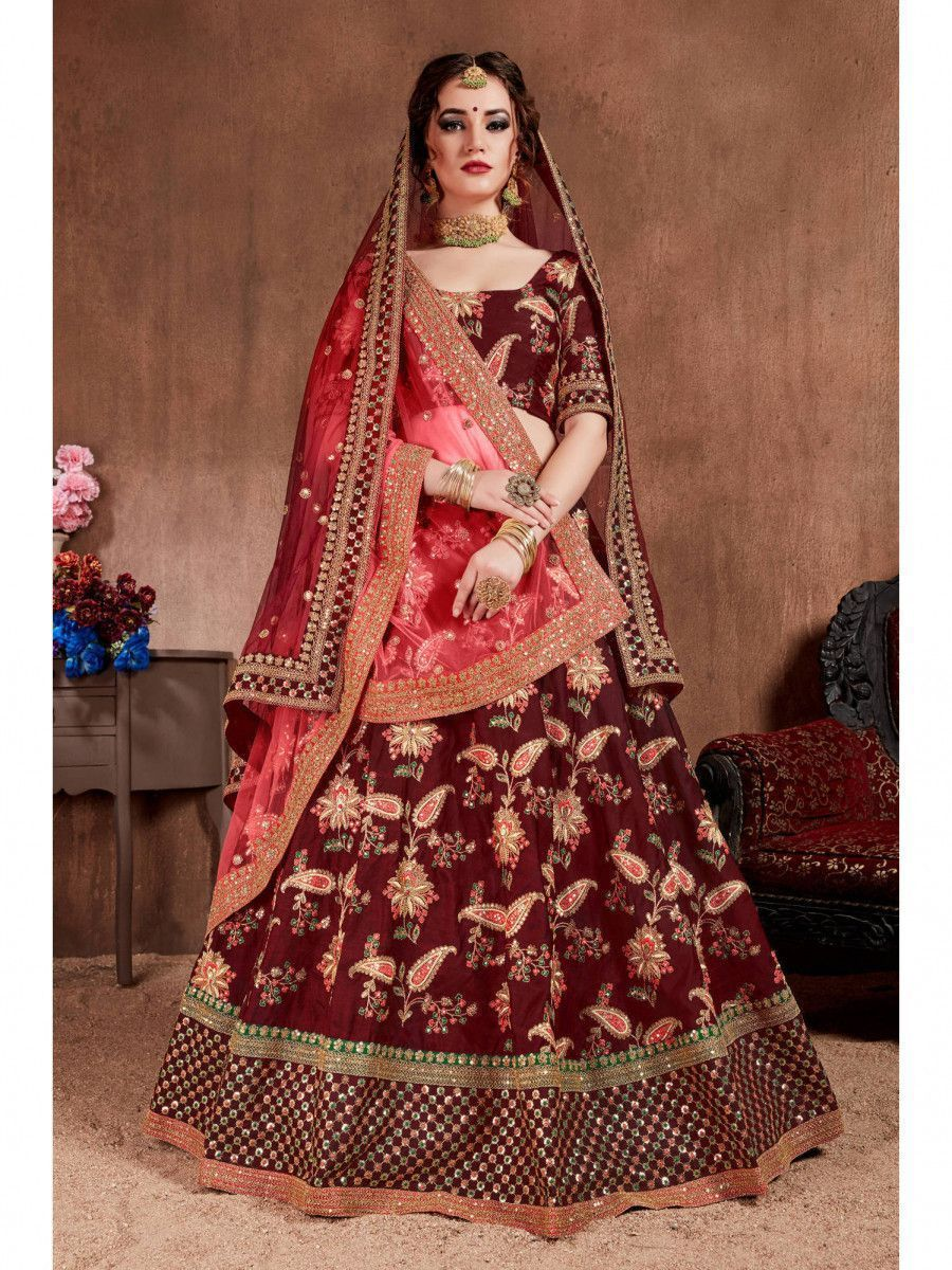 Maroon Embroidered Taffeta Bridal Wear Lehenga Choli