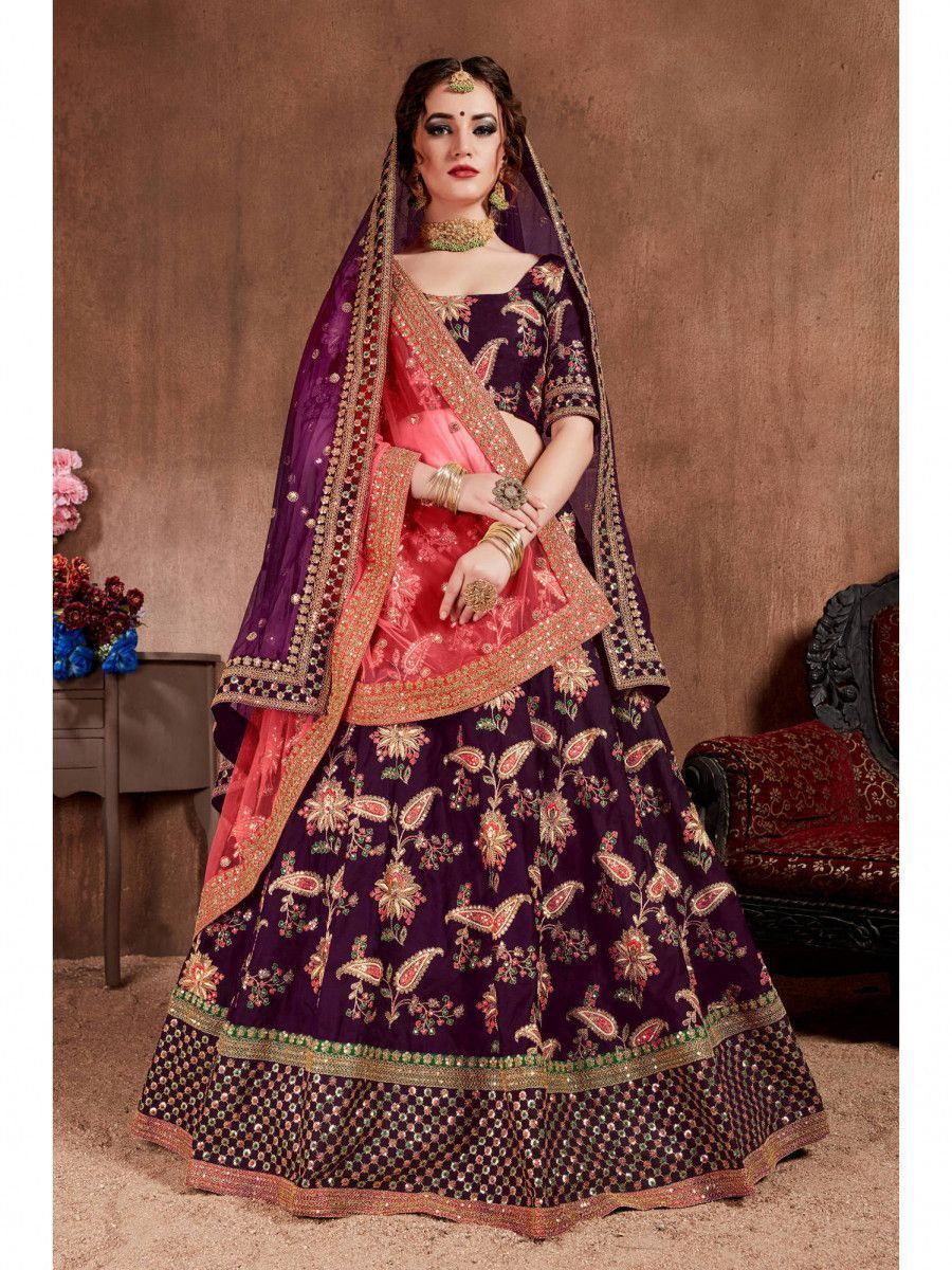 Purple Embroidered Taffeta Bridal Wear Lehenga Choli