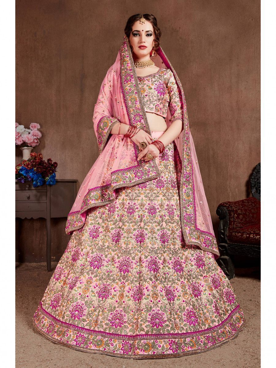 Pastel Pink Embroidered Taffeta Bridal Wear Lehenga Choli