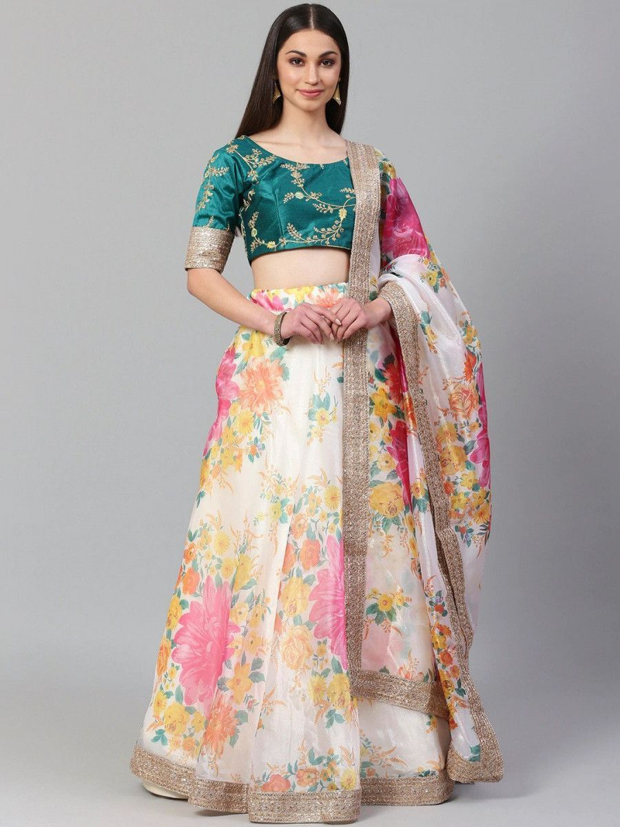 Off-White Semi-Stitched Myntra Lehenga & Unstitched Blouse with Dupatta