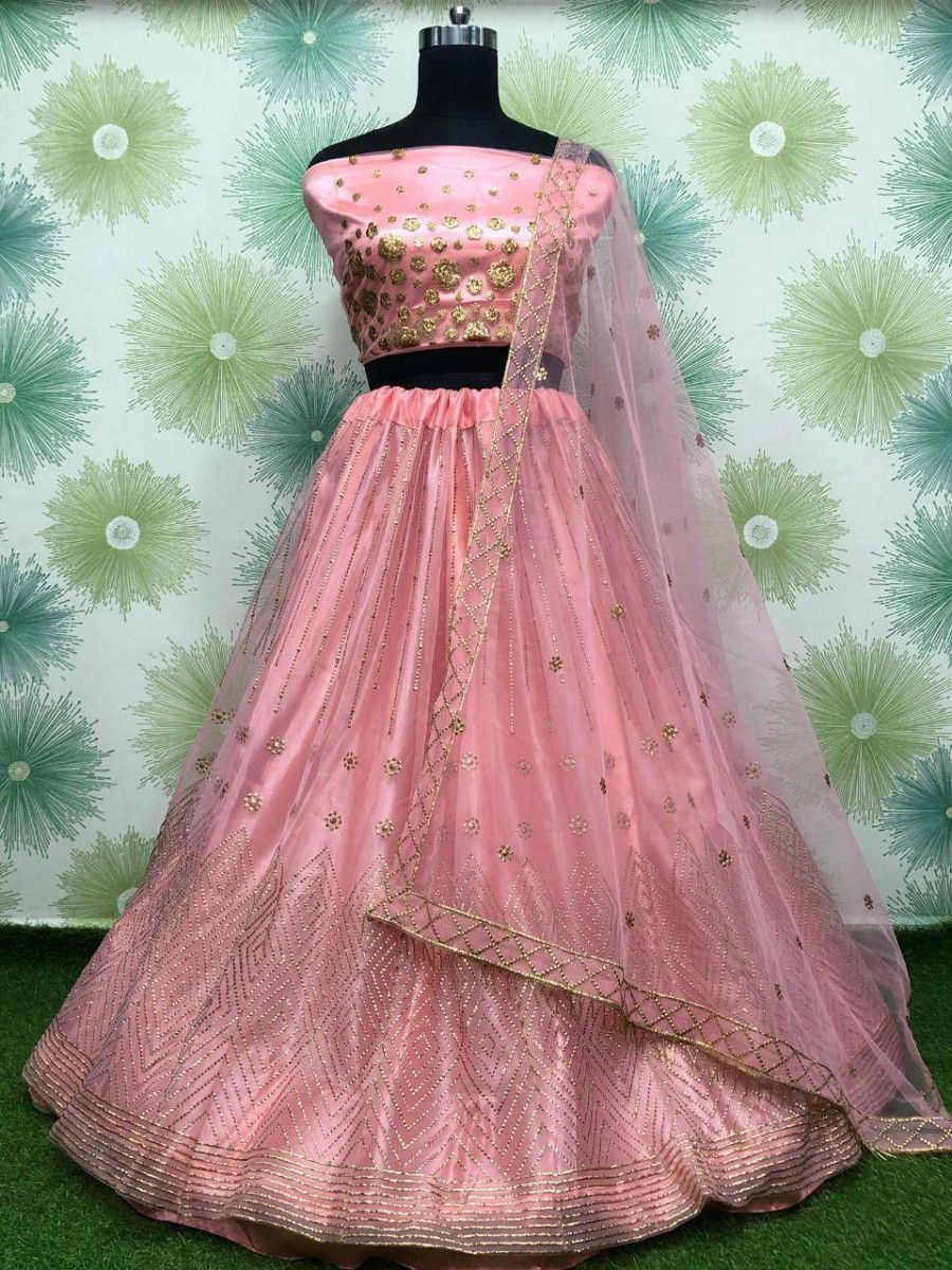 Peach Badla Work Net Festive Wear Lehenga Choli