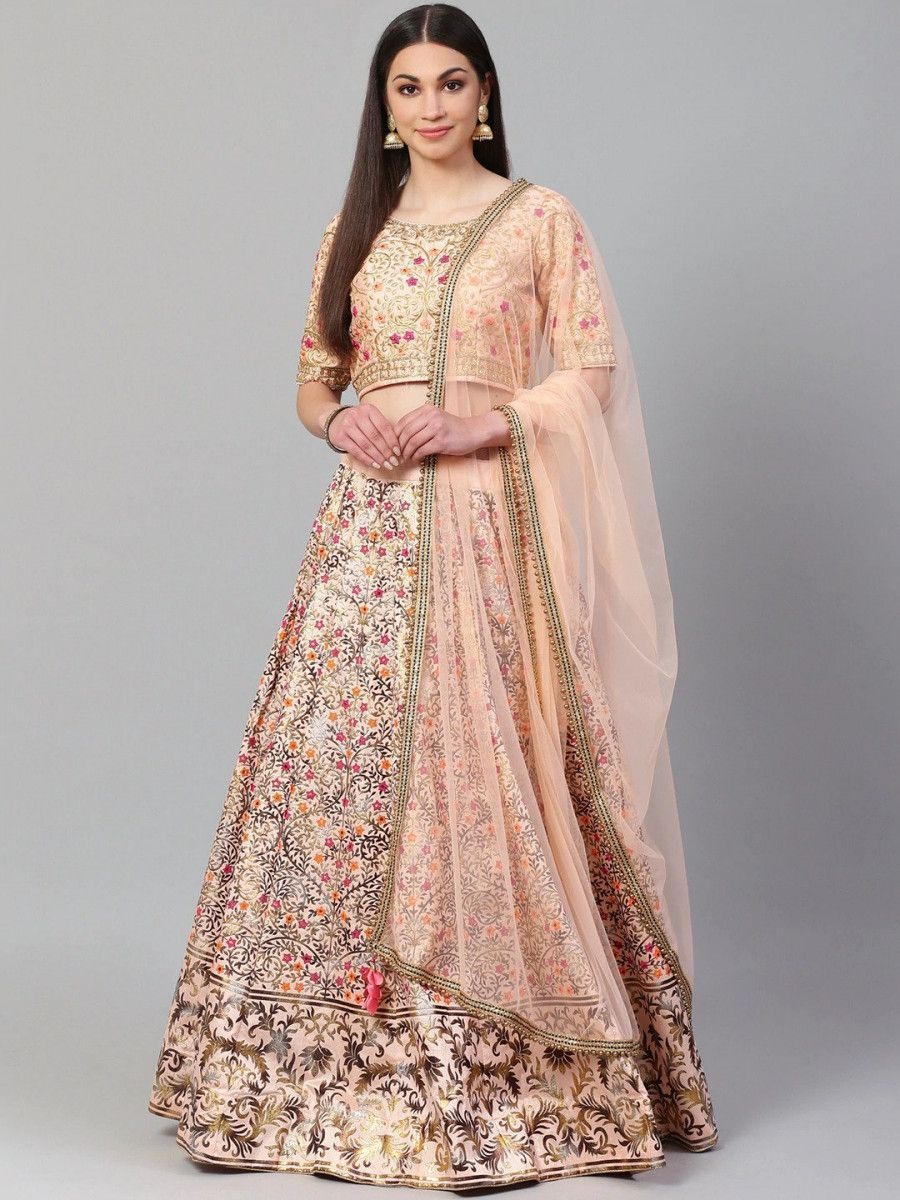 Peach-Coloured & Golden Semi-Stitched Embroidered Myntra Lehenga Choli