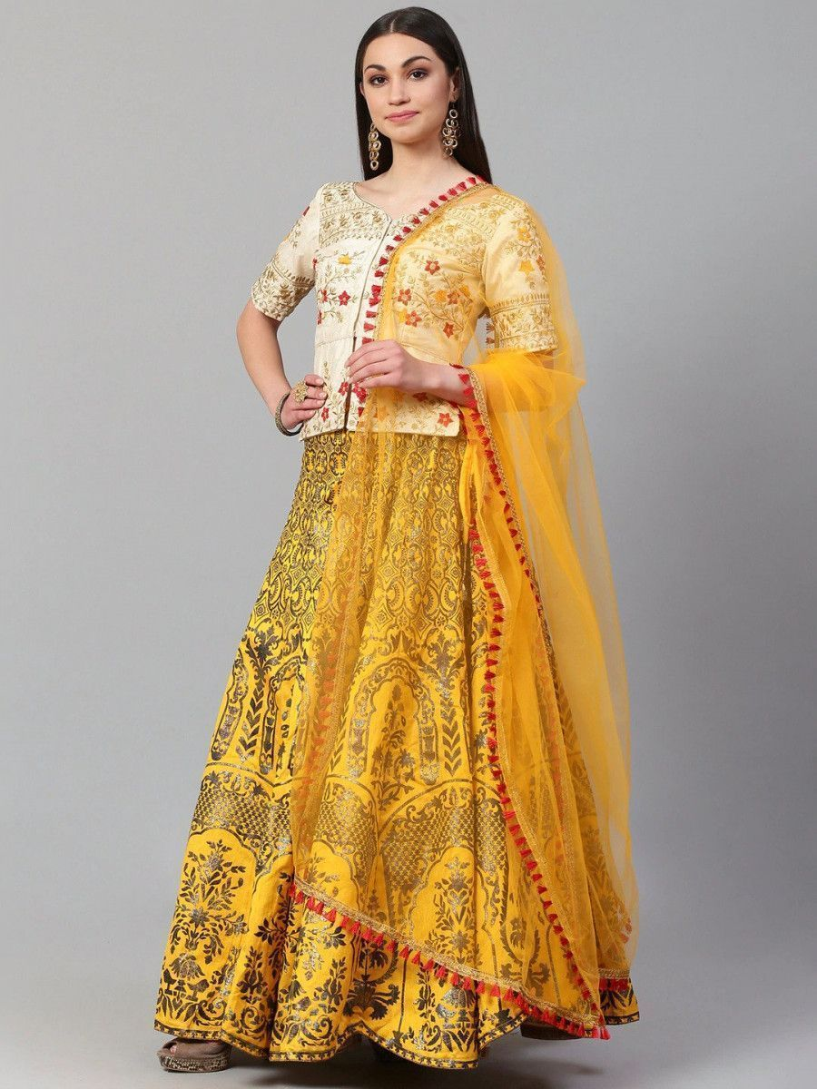 Yellow & Golden Semi-Stitched Myntra Lehenga & Unstitched Blouse with Dupatta
