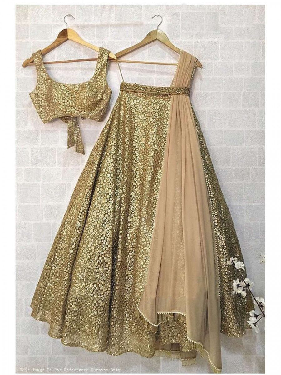 Golden Sequins Net Wedding Lehenga Choli With Dupatta