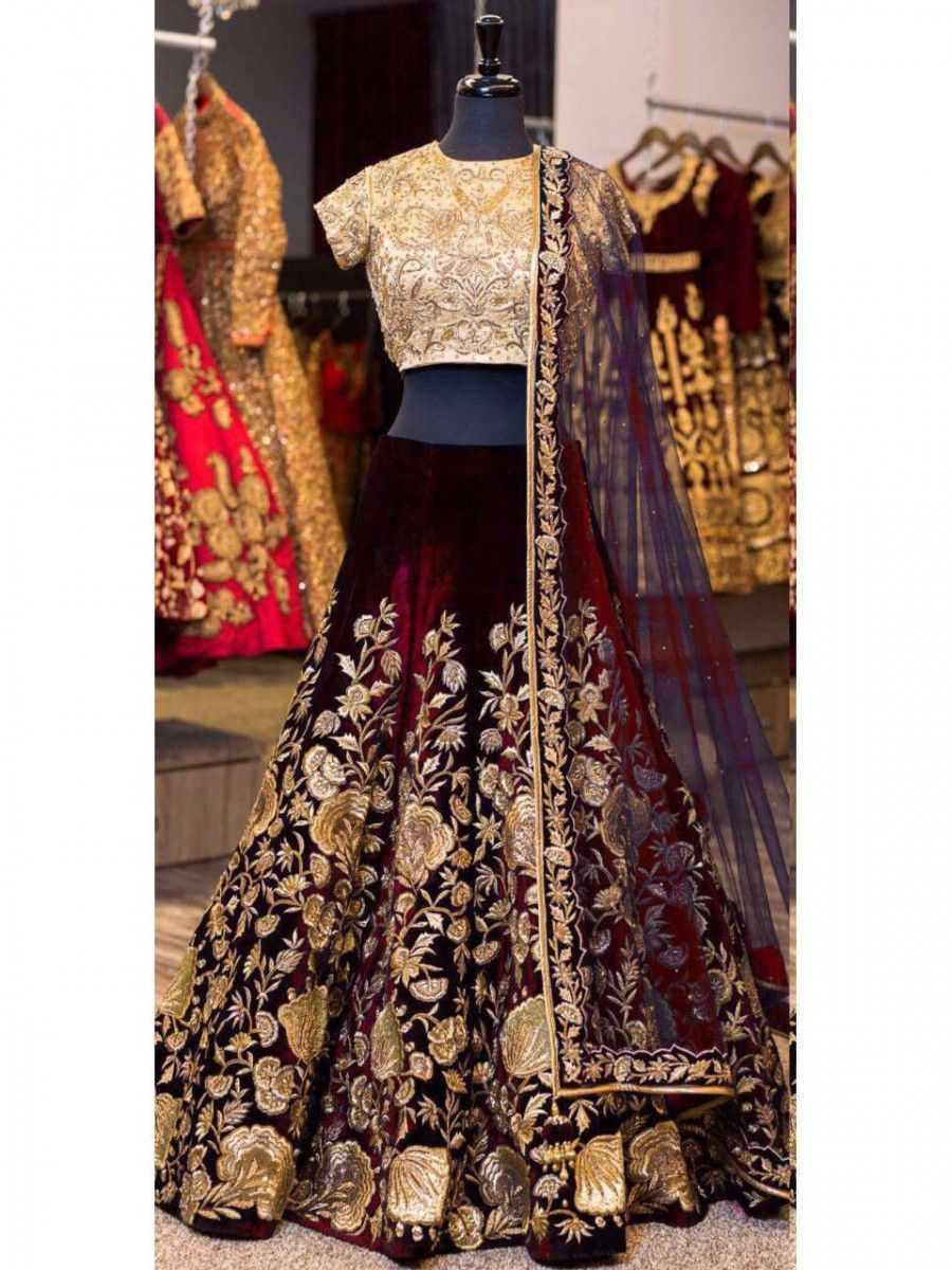Maroon Sequins Embroidered Velvet Bridal Lehenga Choli