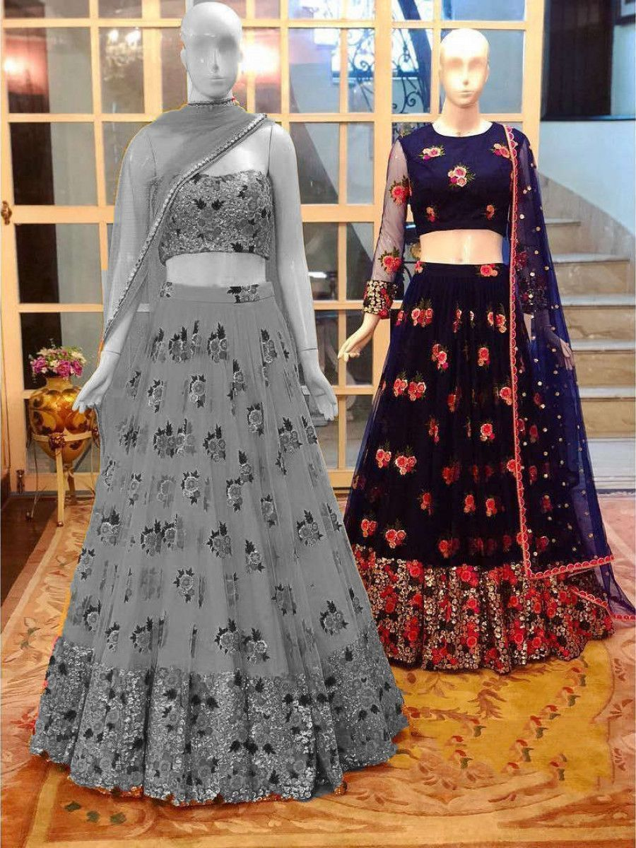 Navy Blue Sequins Net Wedding Lehenga Choli