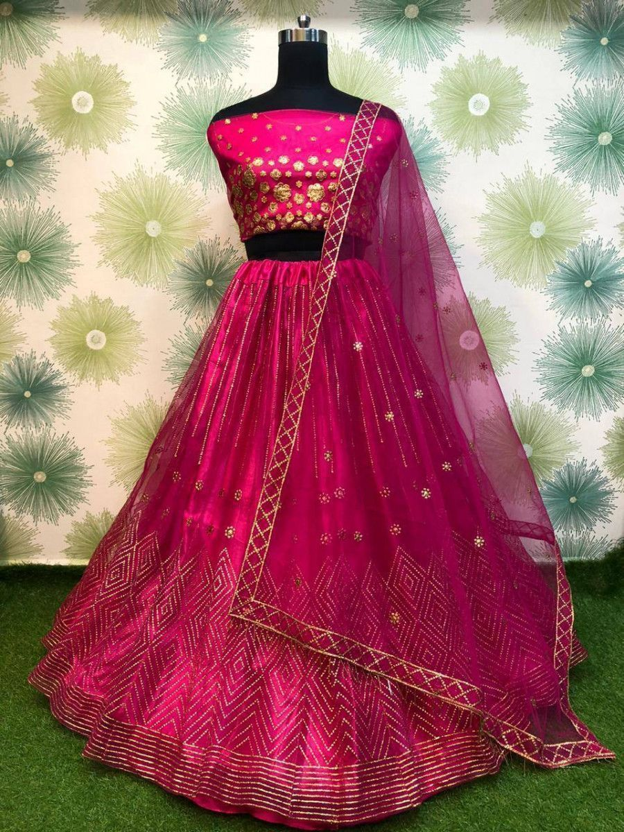 Pink Badla Work Net Festive Wear Lehenga Choli