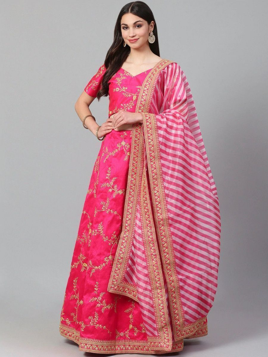Pink & Golden Semi-Stitched Myntra Lehenga & Unstitched Blouse with Dupatta