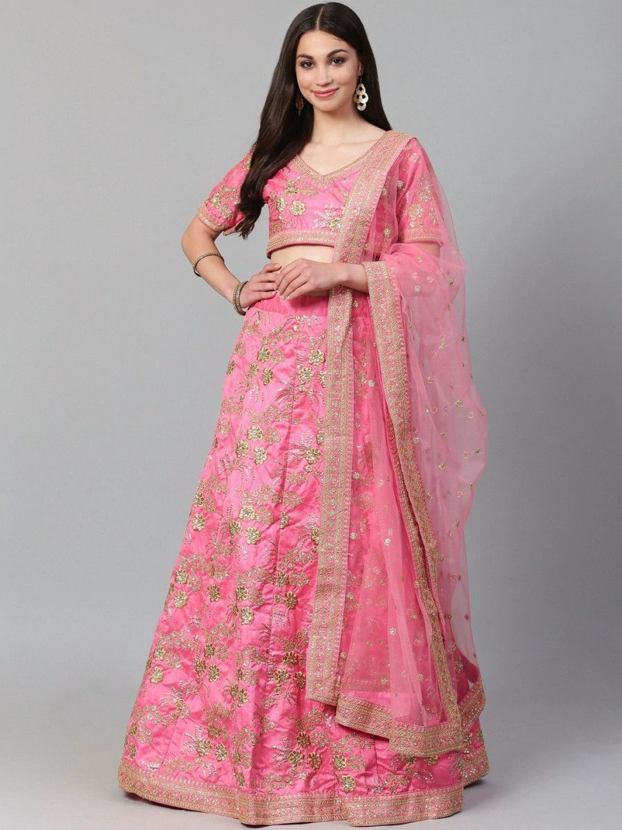 Pink Semi-Stitched Myntra Lehenga & Unstitched Blouse with Dupatta