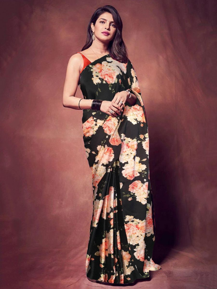 Priyanka Chopda Black Floral Printed Satin Party Wear Saree