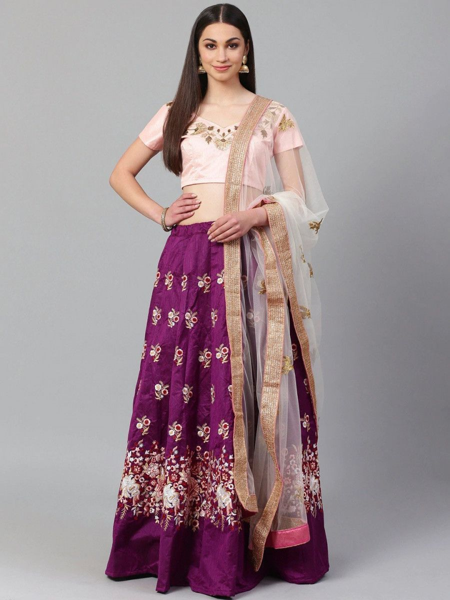 Purple & Peach-Coloured Semi-Stitched Myntra Lehenga with Unstiched Choli