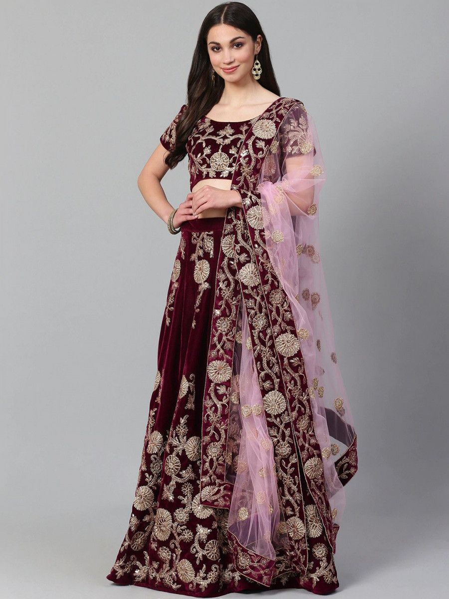 Purple & Golden Semi-Stitched Myntra Party Wear Lehenga & Unstitched Blouse with Dupatta