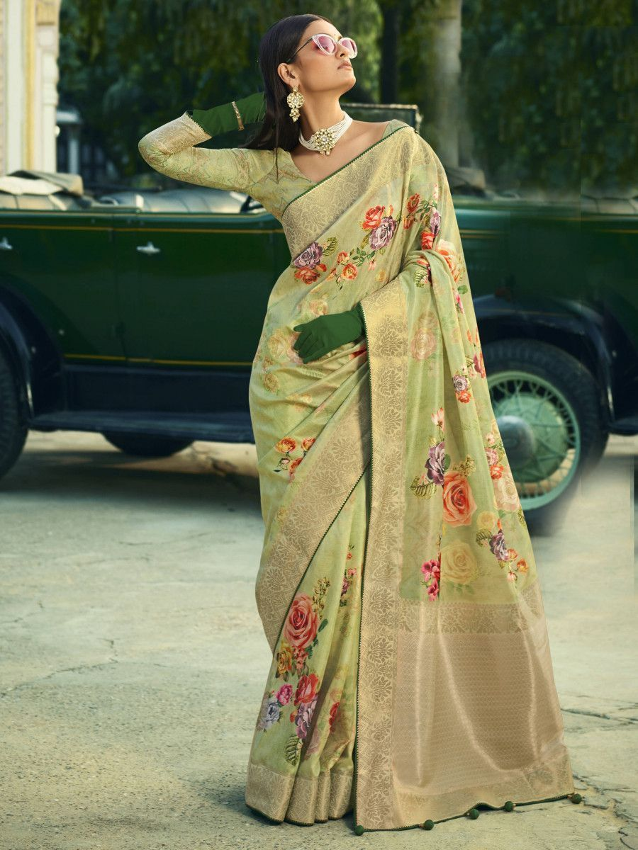 Green Digital Printed Silk Festival Wear Saree With Blouse